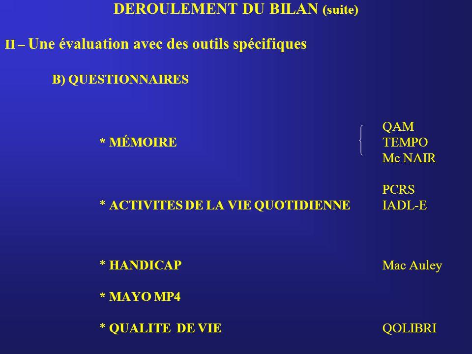 DEROULEMENT DU BILAN (suite)