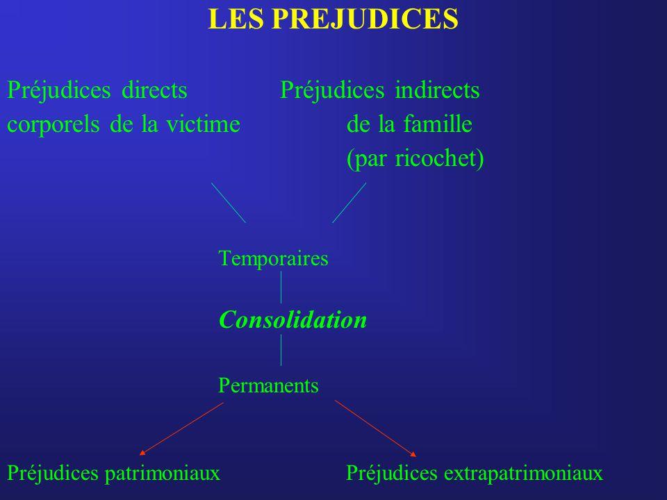 LES PREJUDICES Préjudices directs Préjudices indirects