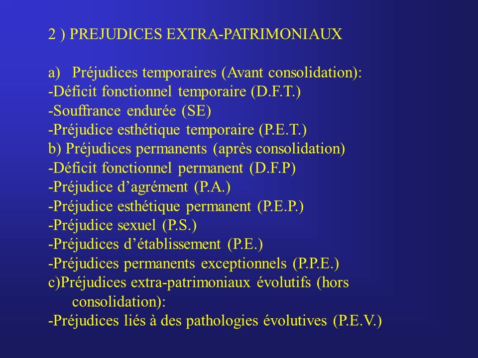 2 ) PREJUDICES EXTRA-PATRIMONIAUX