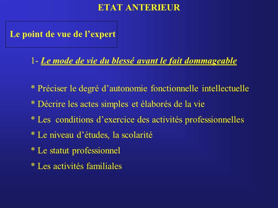 ETAT ANTERIEUR Le point de vue de l'expert. 1- Le mode de vie du blessé avant le fait dommageable.