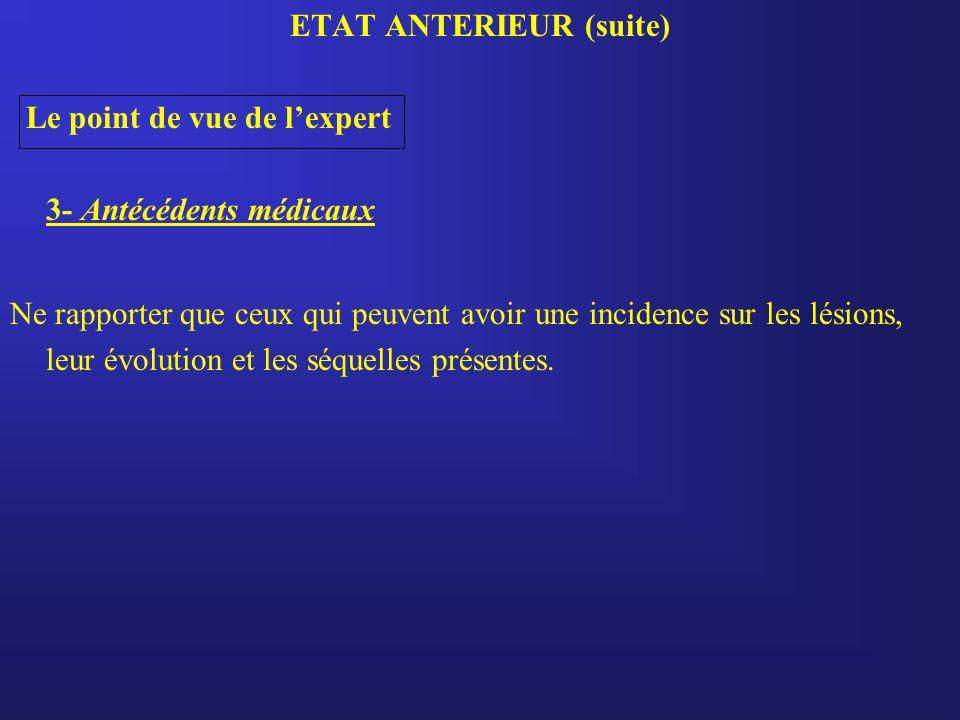 ETAT ANTERIEUR (suite)