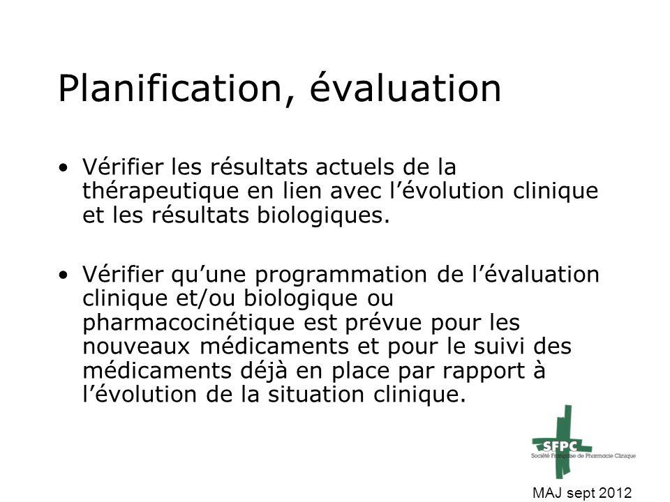 Planification, évaluation
