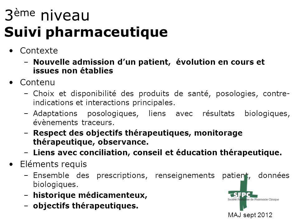3ème niveau Suivi pharmaceutique
