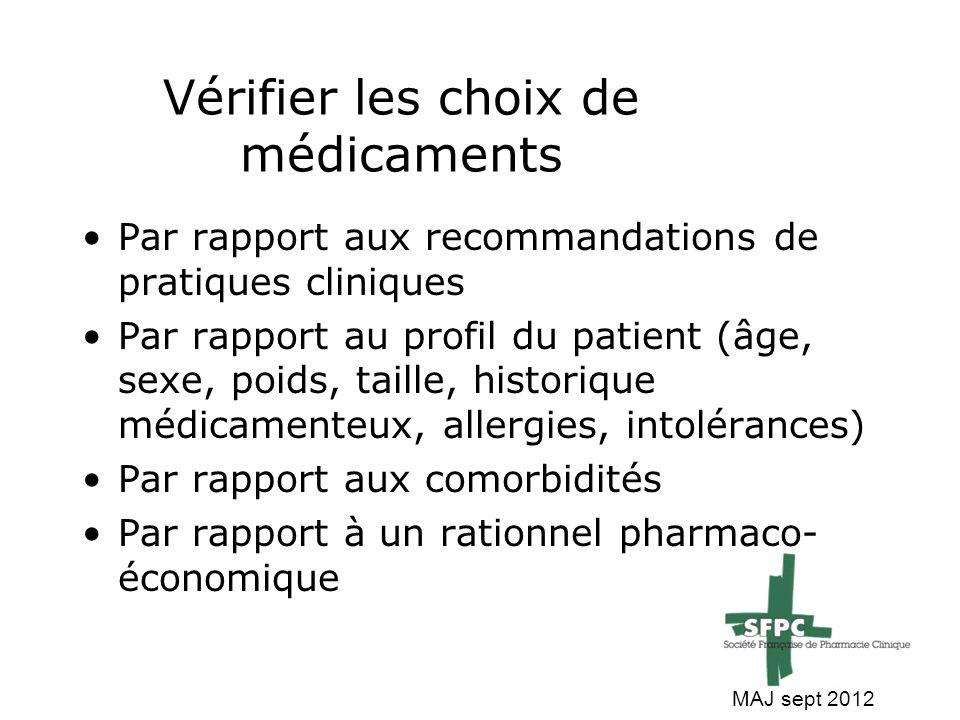 Vérifier les choix de médicaments
