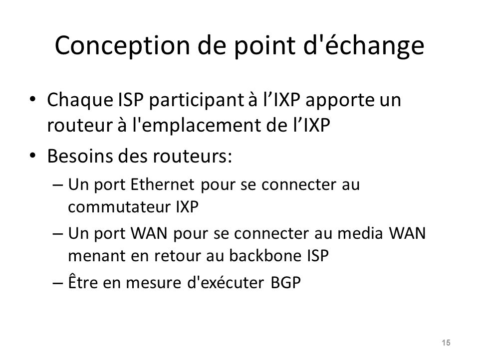 Conception de point d échange