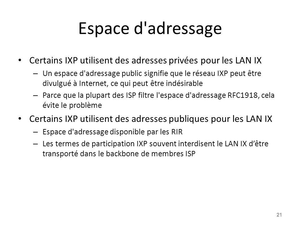 Espace d adressage Certains IXP utilisent des adresses privées pour les LAN IX.