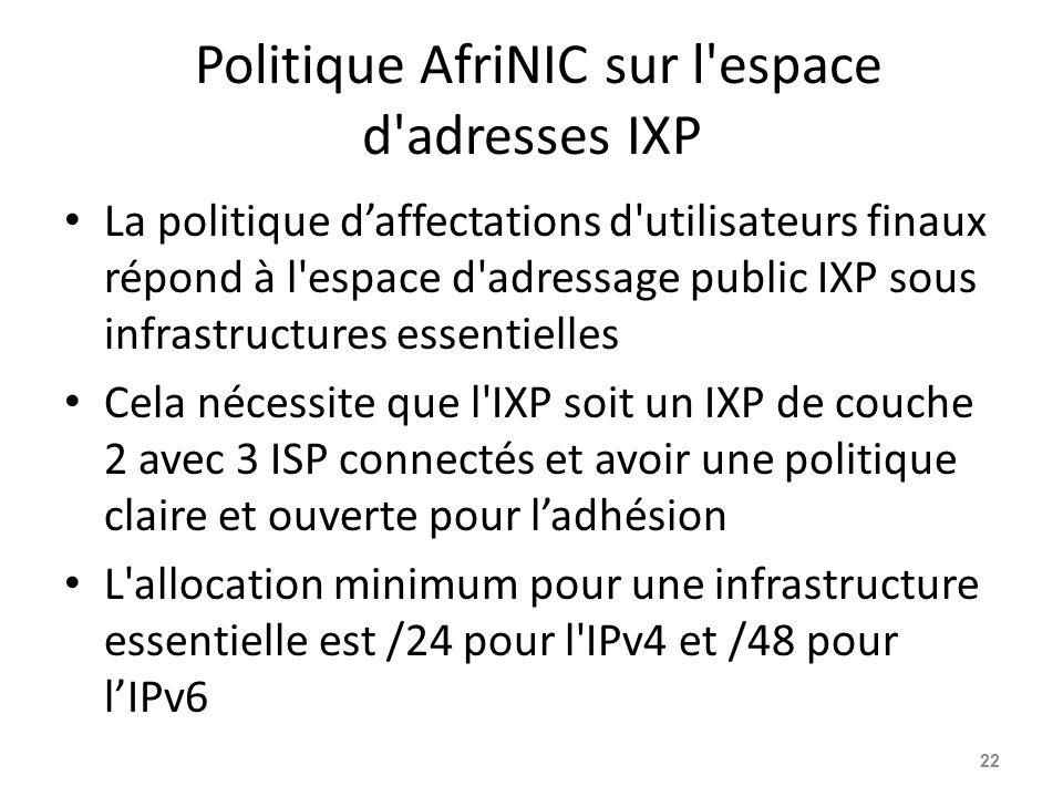 Politique AfriNIC sur l espace d adresses IXP