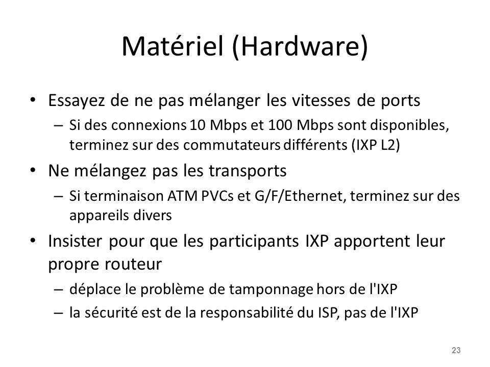 Matériel (Hardware) Essayez de ne pas mélanger les vitesses de ports