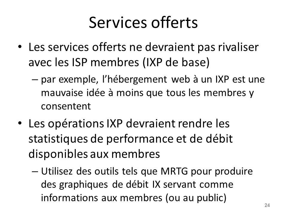 Services offerts Les services offerts ne devraient pas rivaliser avec les ISP membres (IXP de base)
