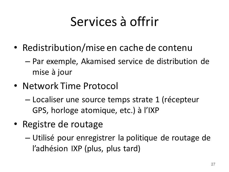 Services à offrir Redistribution/mise en cache de contenu