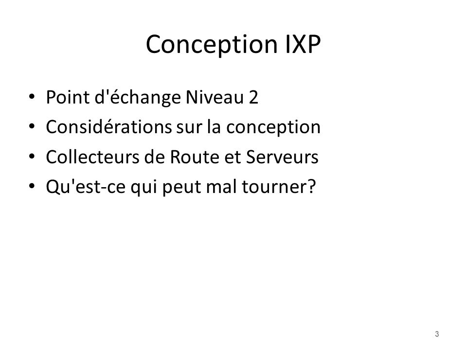 Conception IXP Point d échange Niveau 2