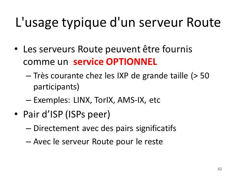 L usage typique d un serveur Route