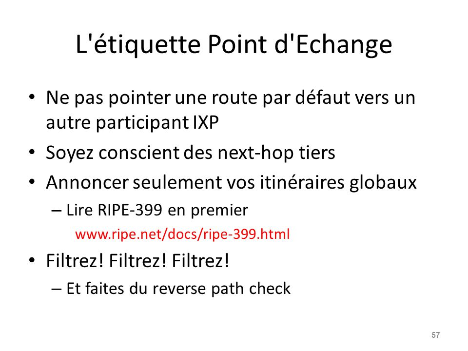 L étiquette Point d Echange