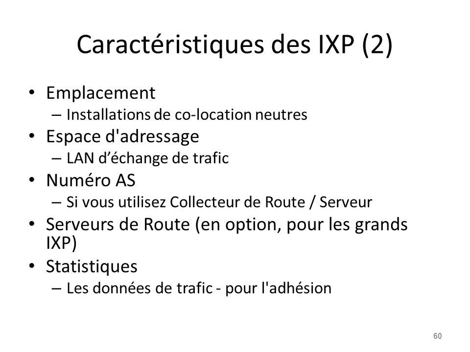 Caractéristiques des IXP (2)