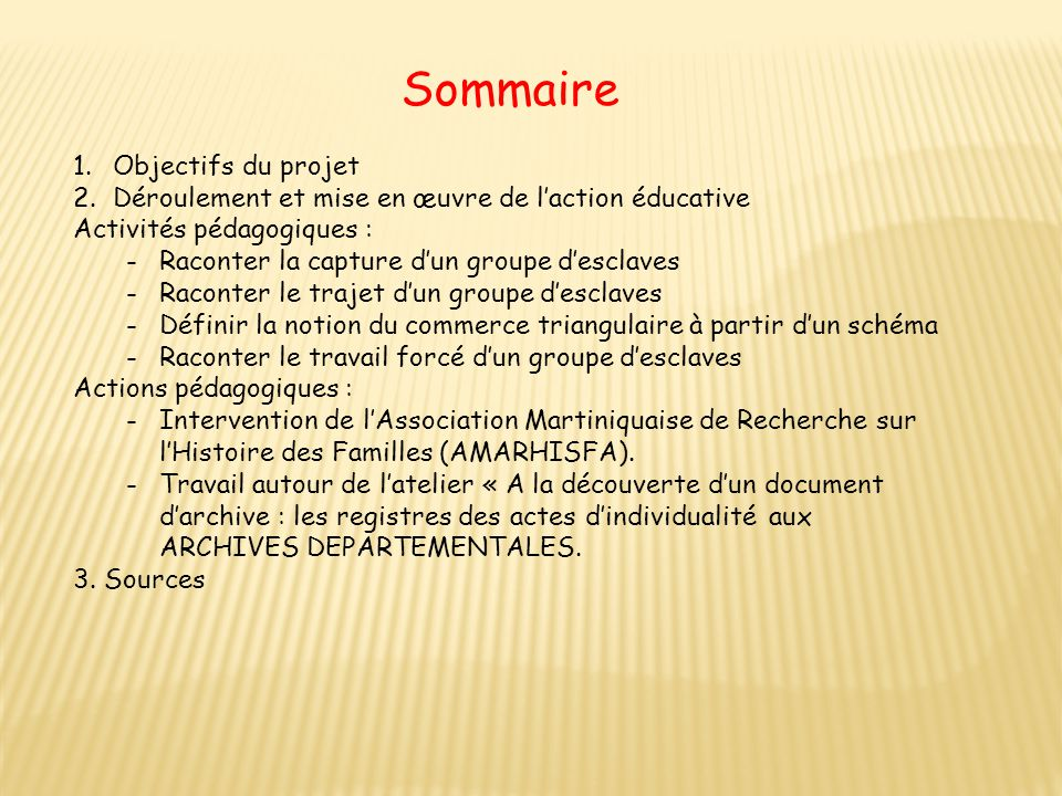 Sommaire Objectifs du projet
