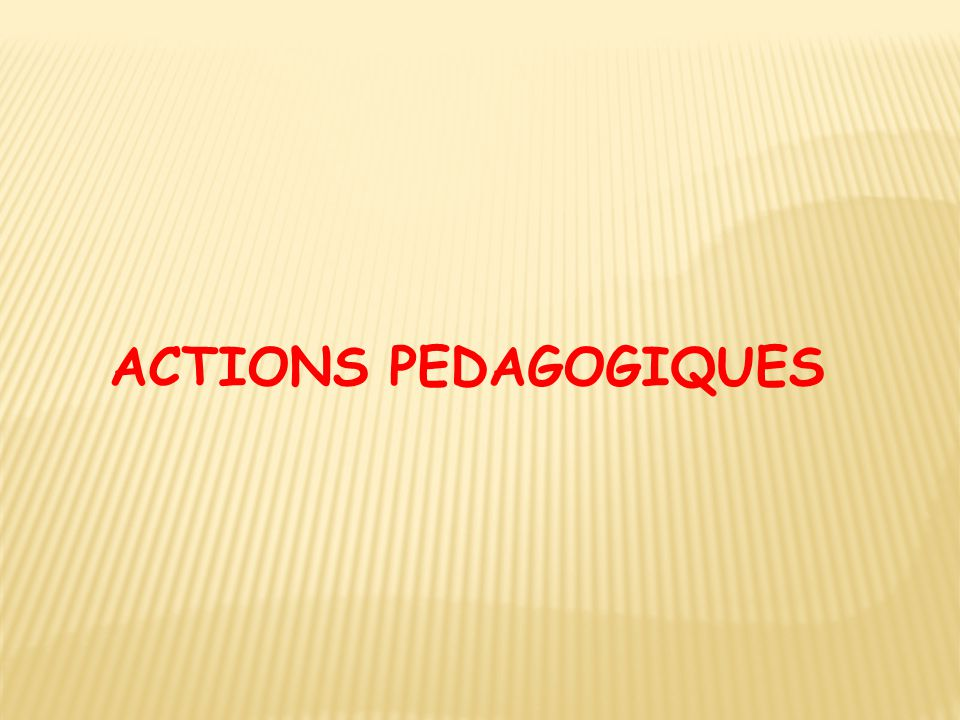 ACTIONS PEDAGOGIQUES