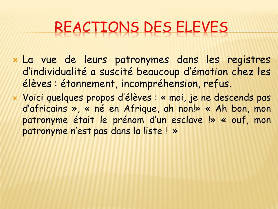 REACTIONS des eleves