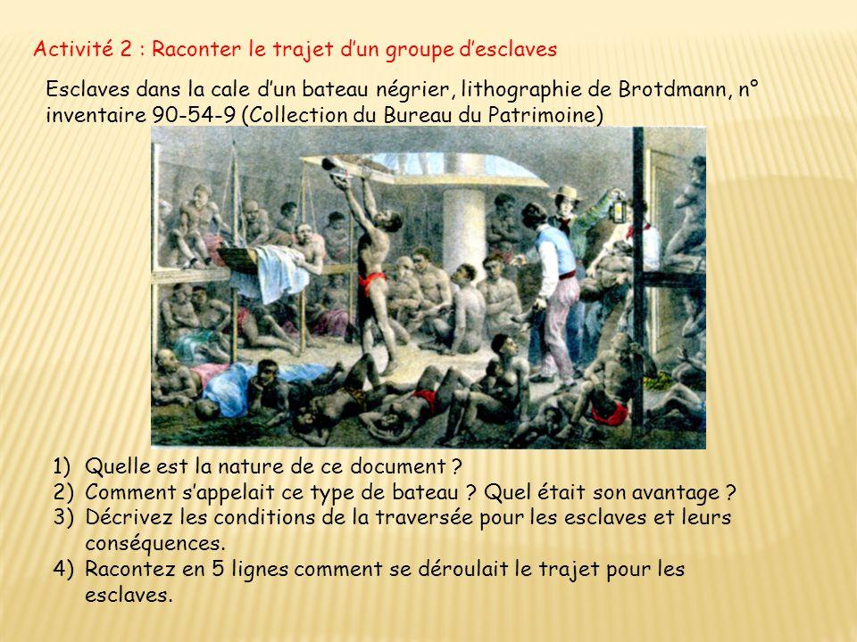 Activité 2 : Raconter le trajet d'un groupe d'esclaves