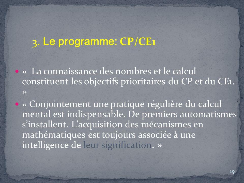 3. Le programme: CP/CE1 « La connaissance des nombres et le calcul constituent les objectifs prioritaires du CP et du CE1. »