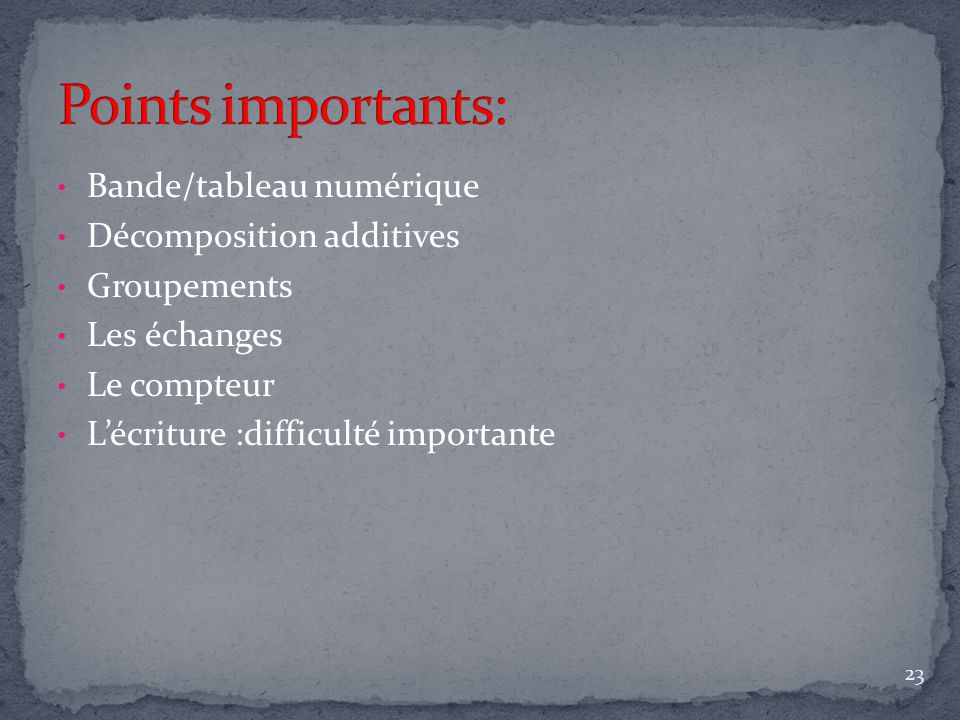 Points importants: Bande/tableau numérique Décomposition additives