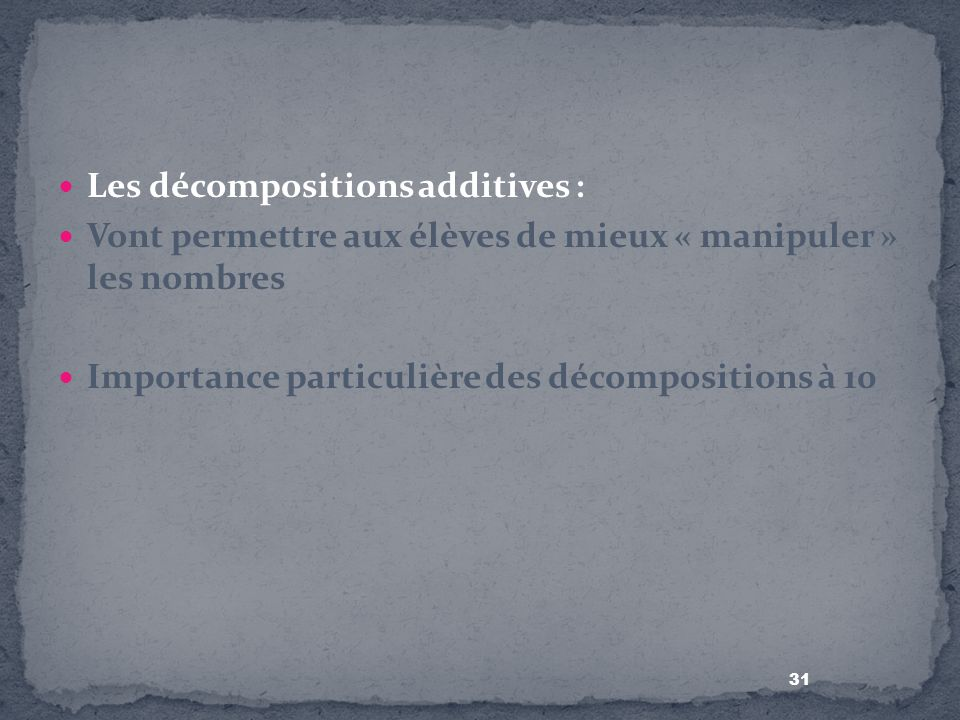 Les décompositions additives :