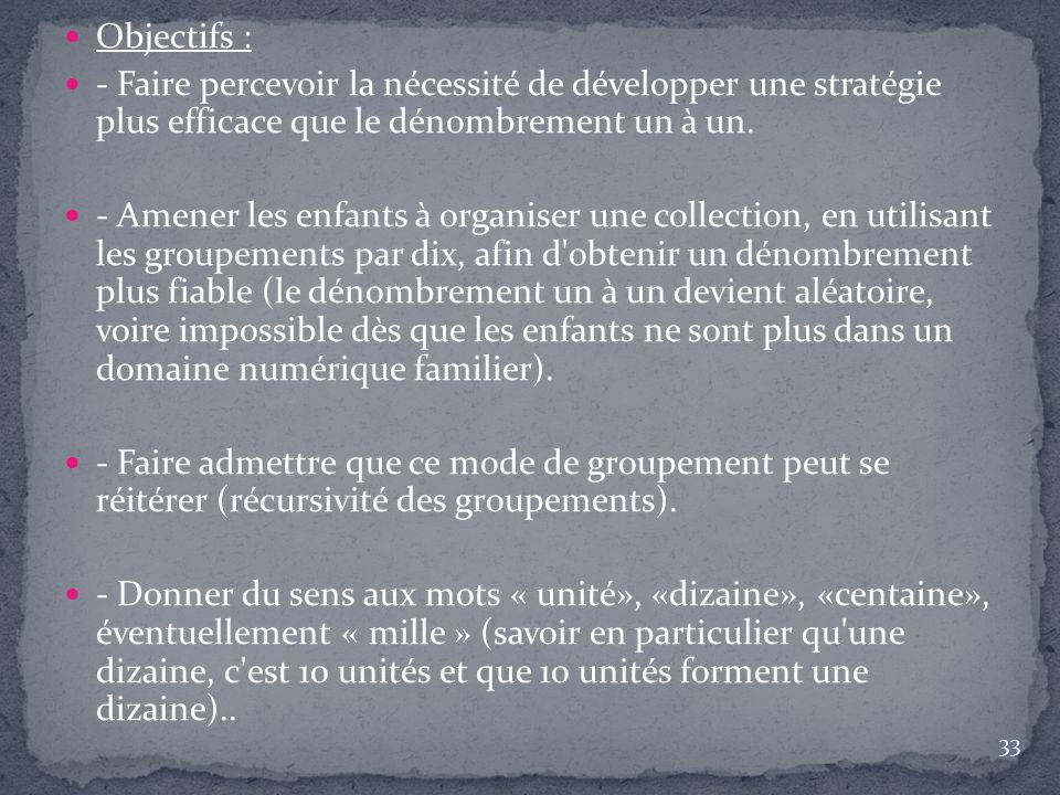 Objectifs : - Faire percevoir la nécessité de développer une stratégie plus efficace que le dénombrement un à un.