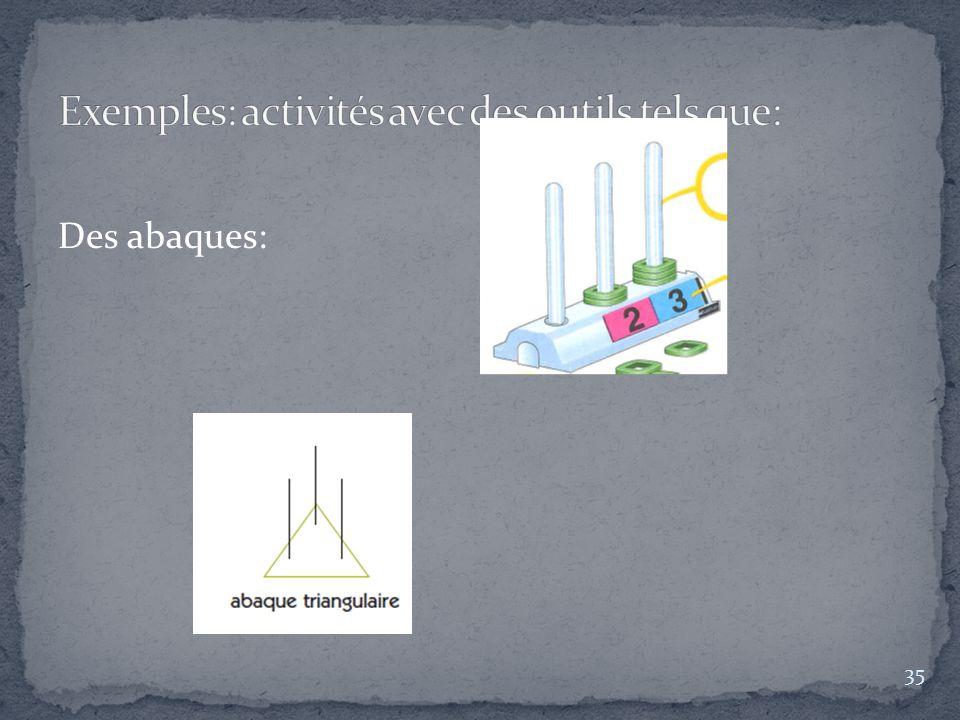 Exemples: activités avec des outils tels que:
