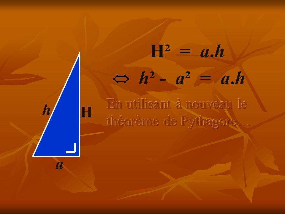 H² = a.h H a h h² - a² = a.h En utilisant à nouveau le théorème de Pythagore…