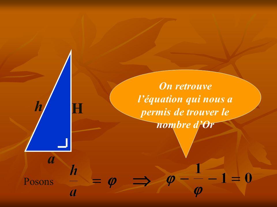 On retrouve l'équation qui nous a permis de trouver le nombre d'Or