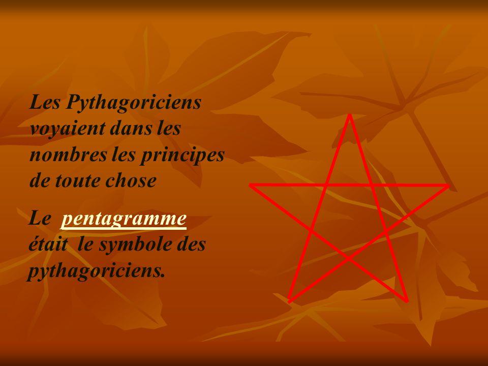 Les Pythagoriciens voyaient dans les nombres les principes de toute chose