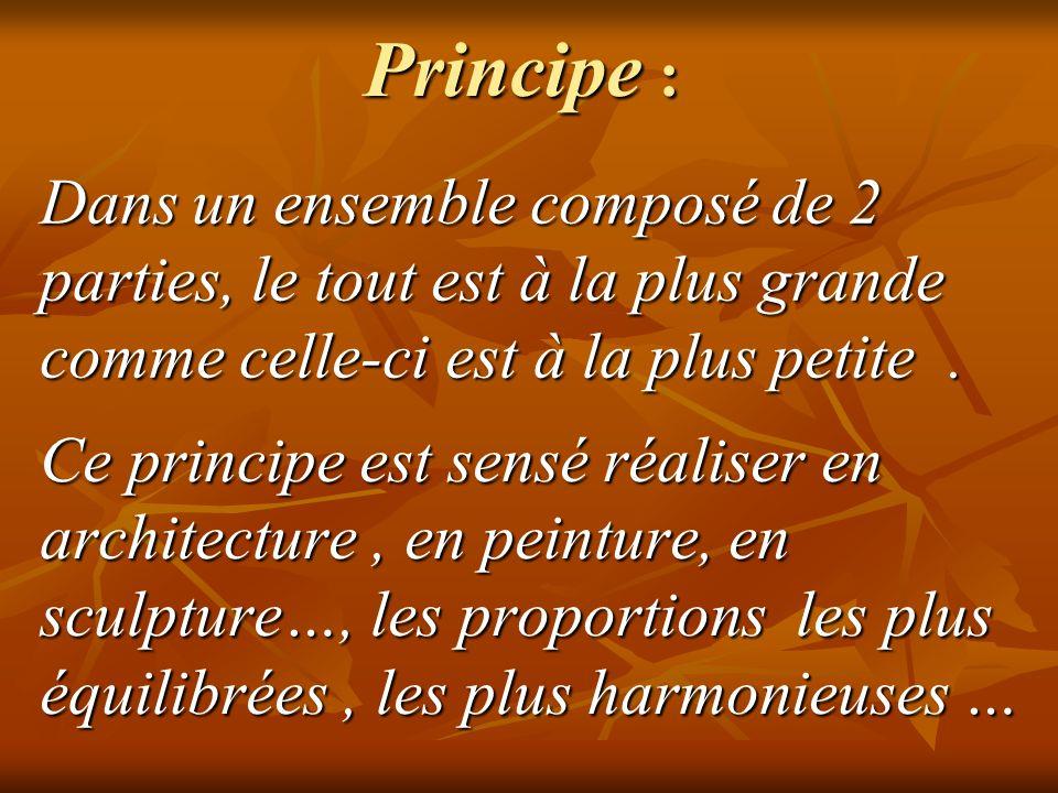Principe : Dans un ensemble composé de 2 parties, le tout est à la plus grande comme celle-ci est à la plus petite .