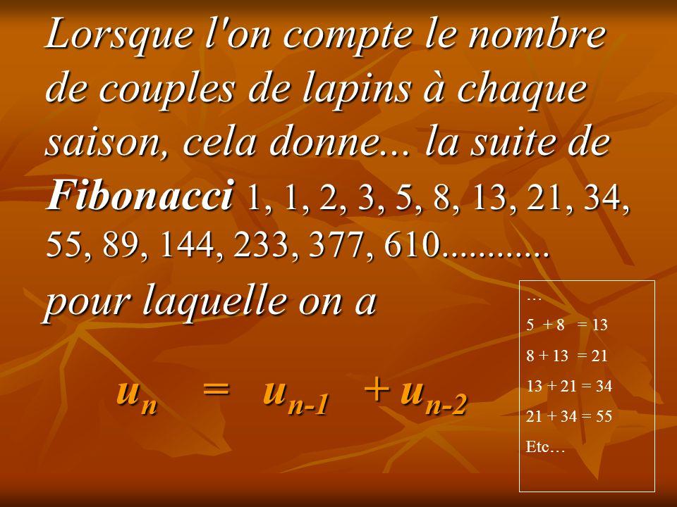 Lorsque l on compte le nombre de couples de lapins à chaque saison, cela donne... la suite de Fibonacci 1, 1, 2, 3, 5, 8, 13, 21, 34, 55, 89, 144, 233, 377, 610............ pour laquelle on a