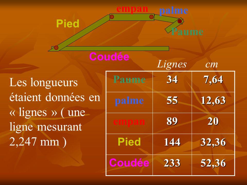 Coudée Pied. empan. palme. Paume. Lignes. cm. Paume. 34. 7,64. palme. 55. 12,63. empan.