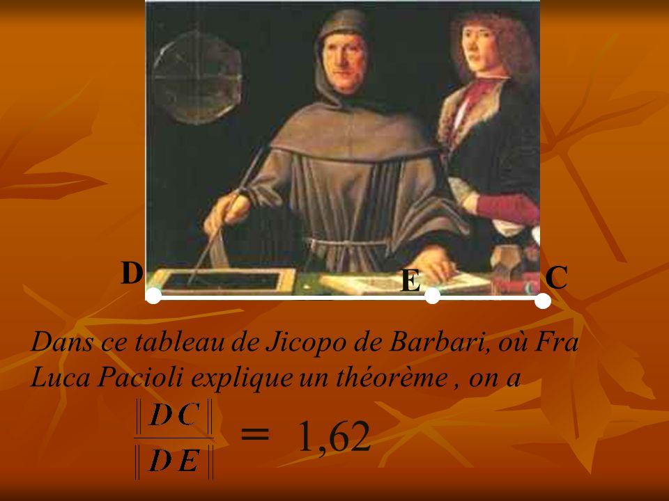 D E C Dans ce tableau de Jicopo de Barbari, où Fra Luca Pacioli explique un théorème , on a = 1,62