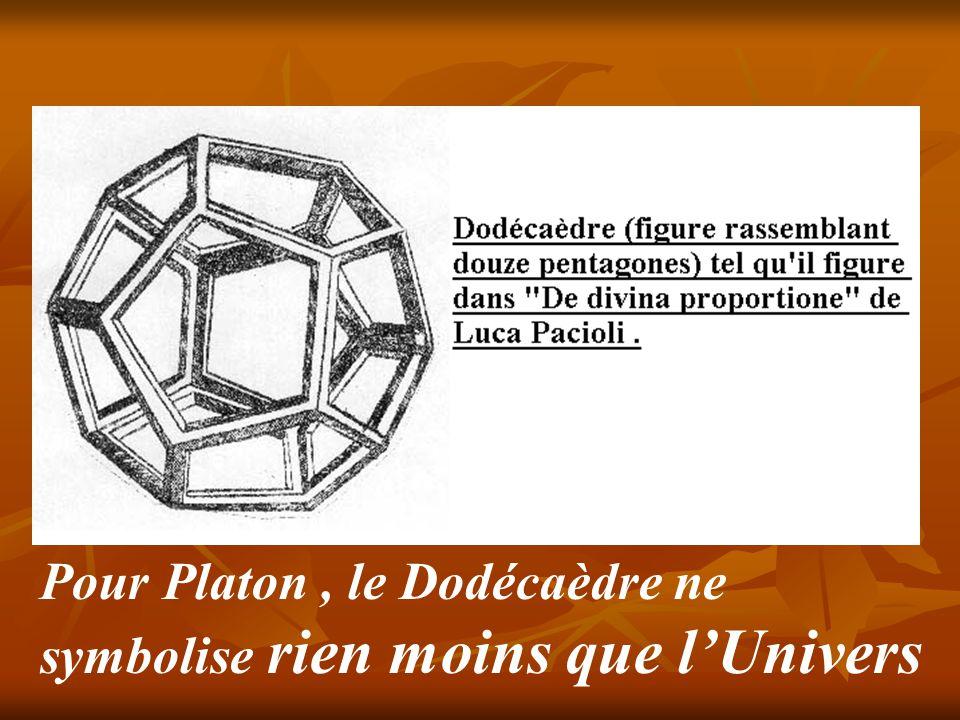 Pour Platon , le Dodécaèdre ne symbolise rien moins que l'Univers