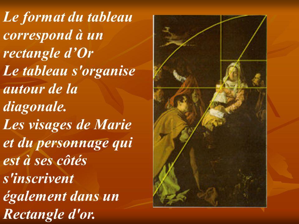 Le format du tableau correspond à un rectangle d'Or Le tableau s organise autour de la diagonale. Les visages de Marie et du personnage qui est à ses côtés s inscrivent également dans un Rectangle d or.