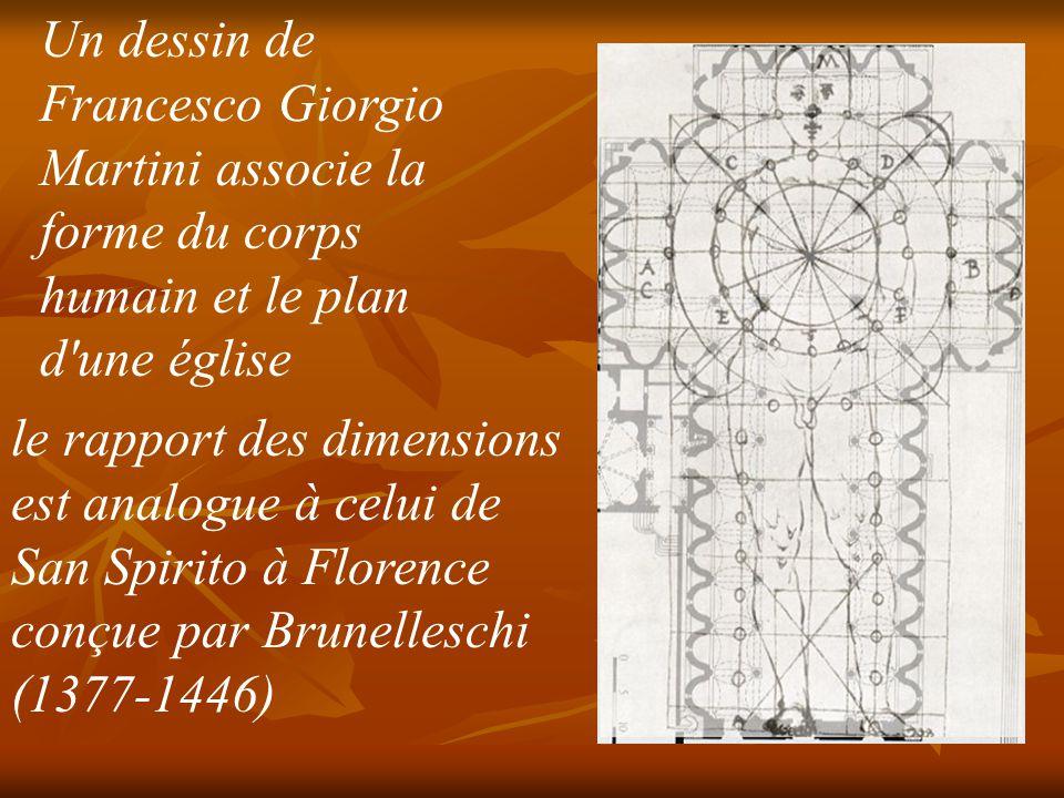 Un dessin de Francesco Giorgio Martini associe la forme du corps humain et le plan d une église