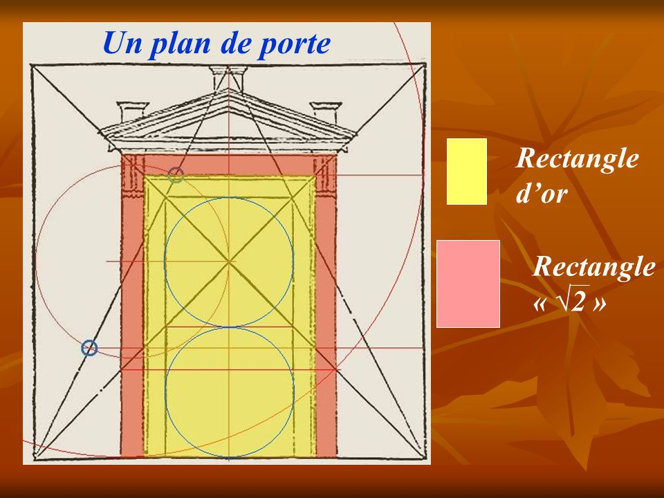 Un plan de porte Rectangle d'or Rectangle « √2 »