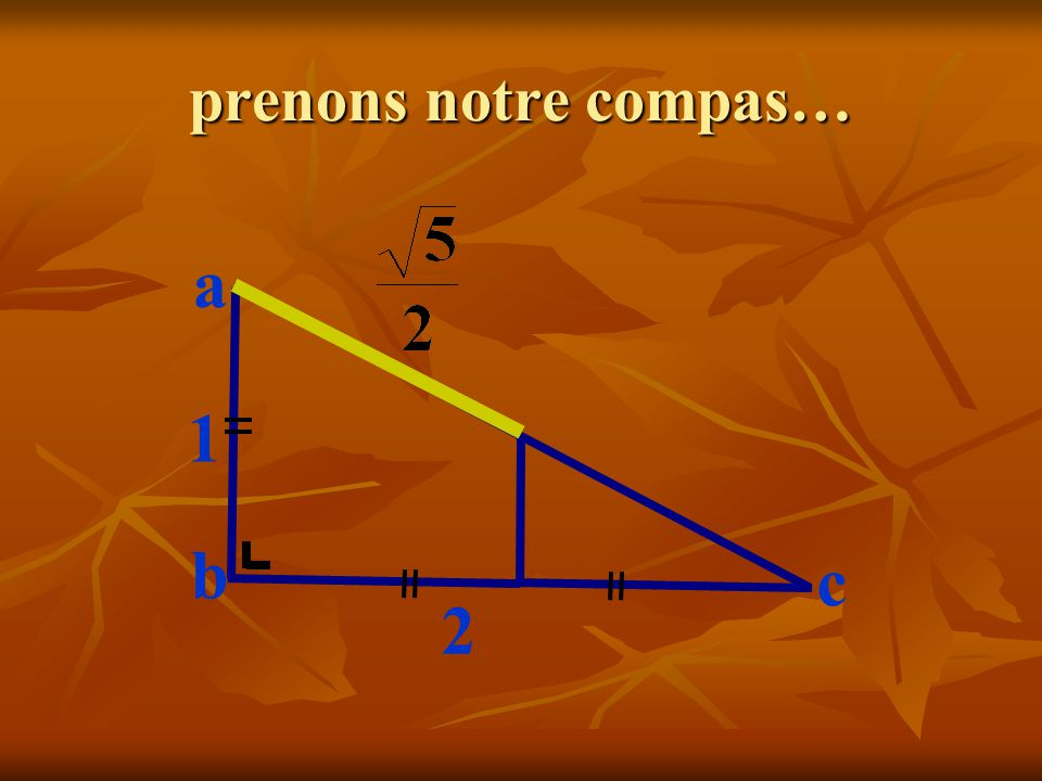 prenons notre compas… c 1 2 a b