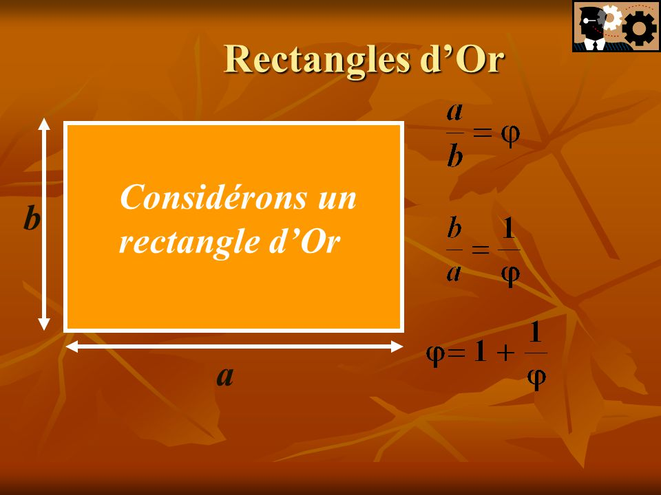 Rectangles d'Or Considérons un rectangle d'Or b a