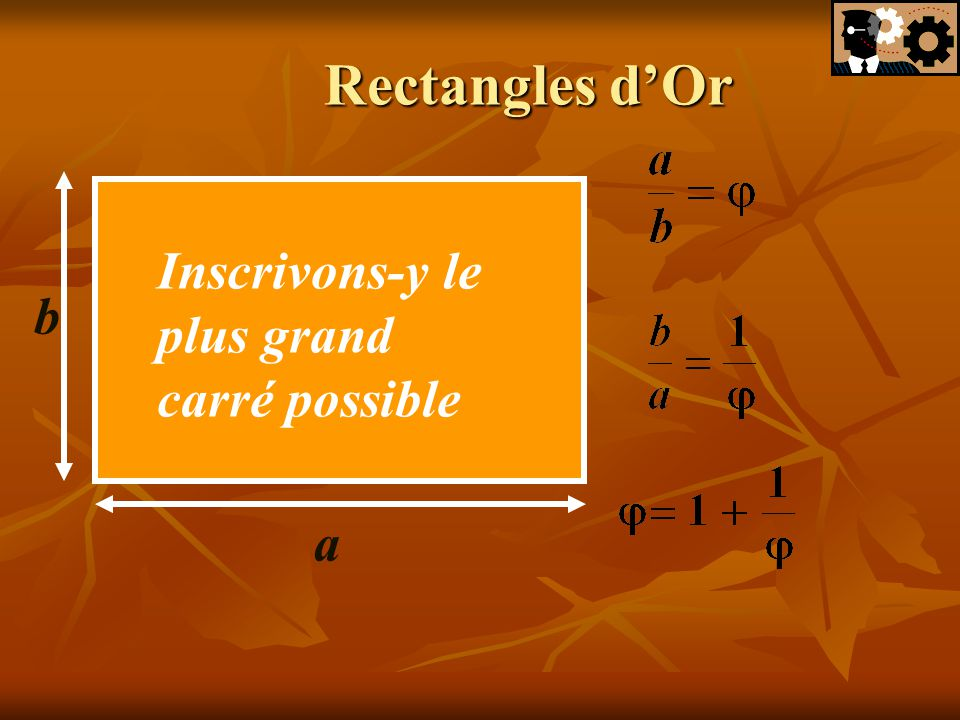 Rectangles d'Or Inscrivons-y le plus grand carré possible b a
