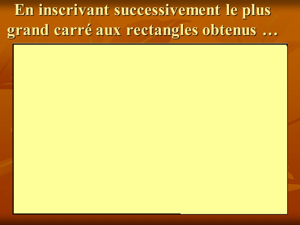 En inscrivant successivement le plus grand carré aux rectangles obtenus …