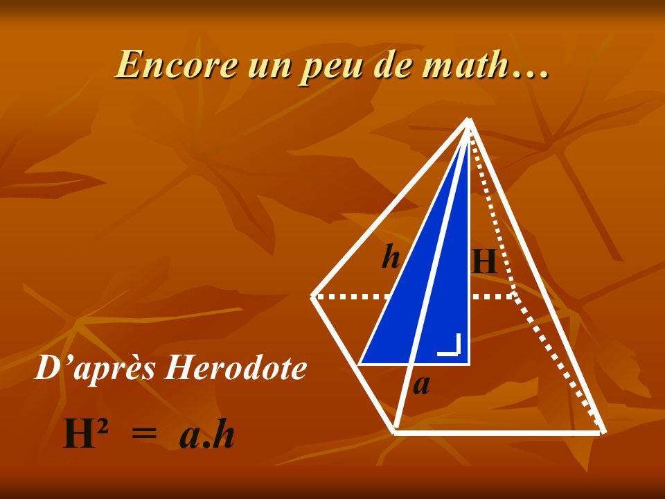 Encore un peu de math… h H D'après Herodote a H² = a.h