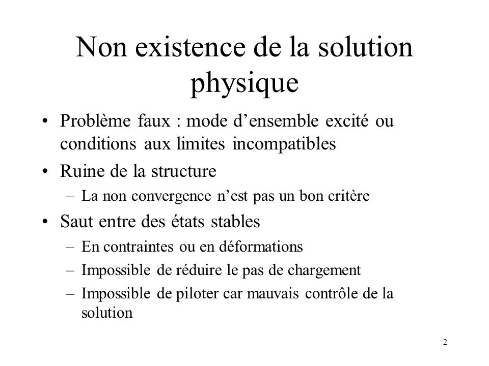 Non existence de la solution physique