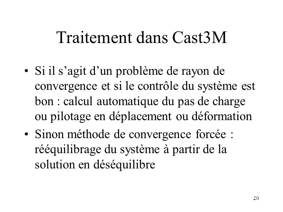 Traitement dans Cast3M