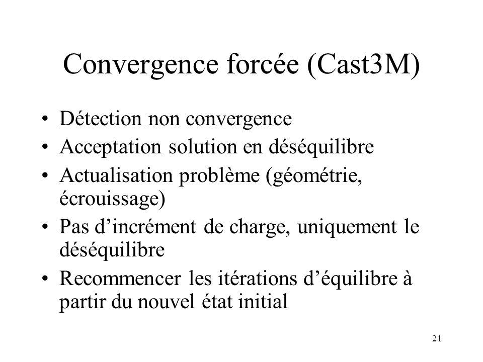 Convergence forcée (Cast3M)