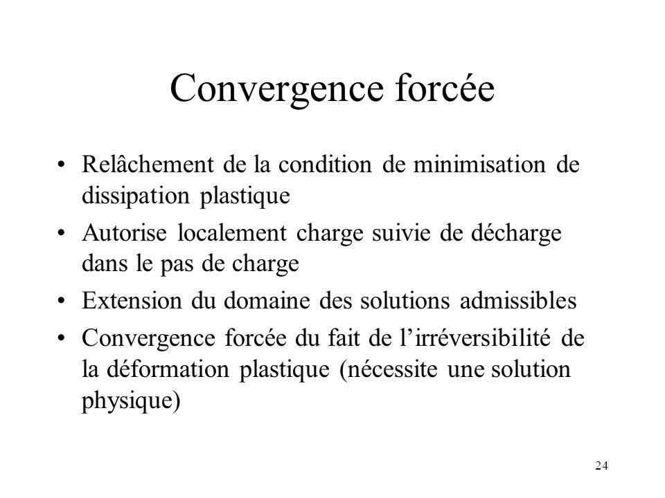 Convergence forcée Relâchement de la condition de minimisation de dissipation plastique.
