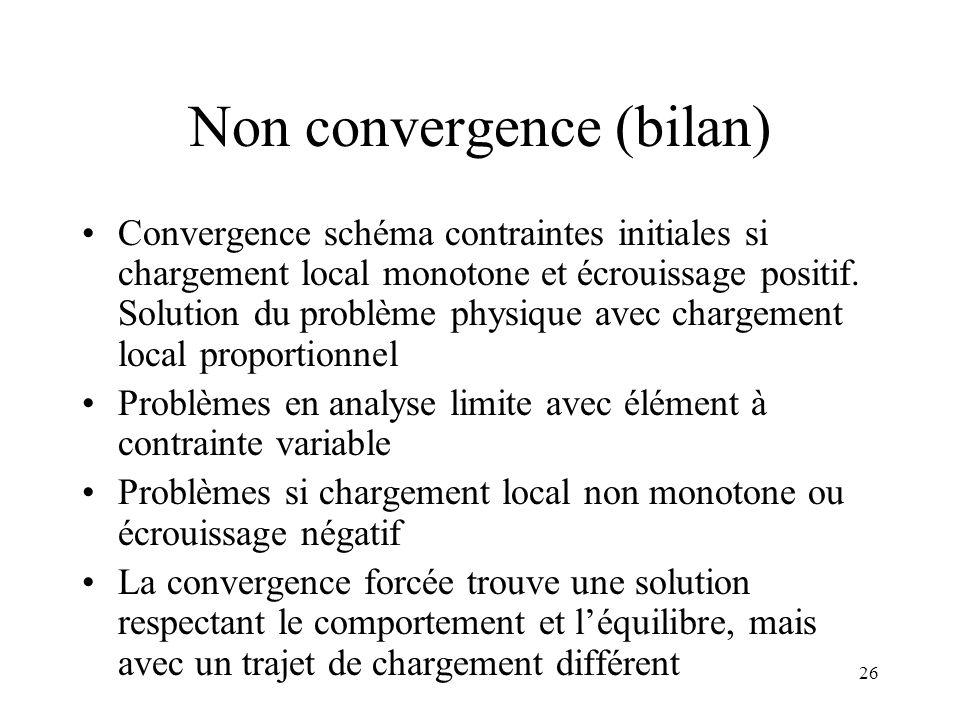 Non convergence (bilan)
