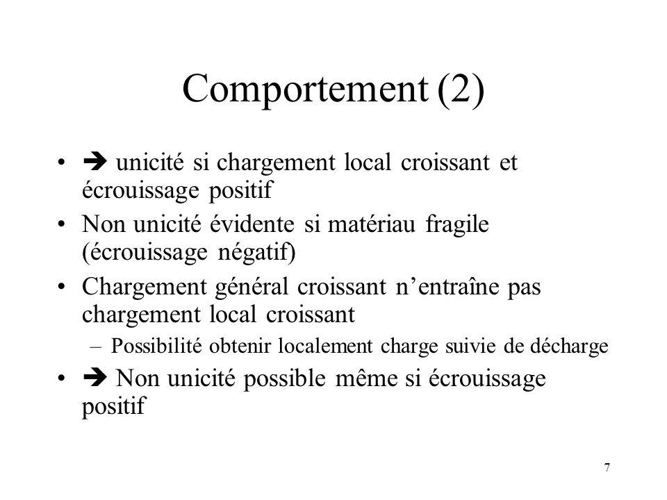 Comportement (2)  unicité si chargement local croissant et écrouissage positif. Non unicité évidente si matériau fragile (écrouissage négatif)