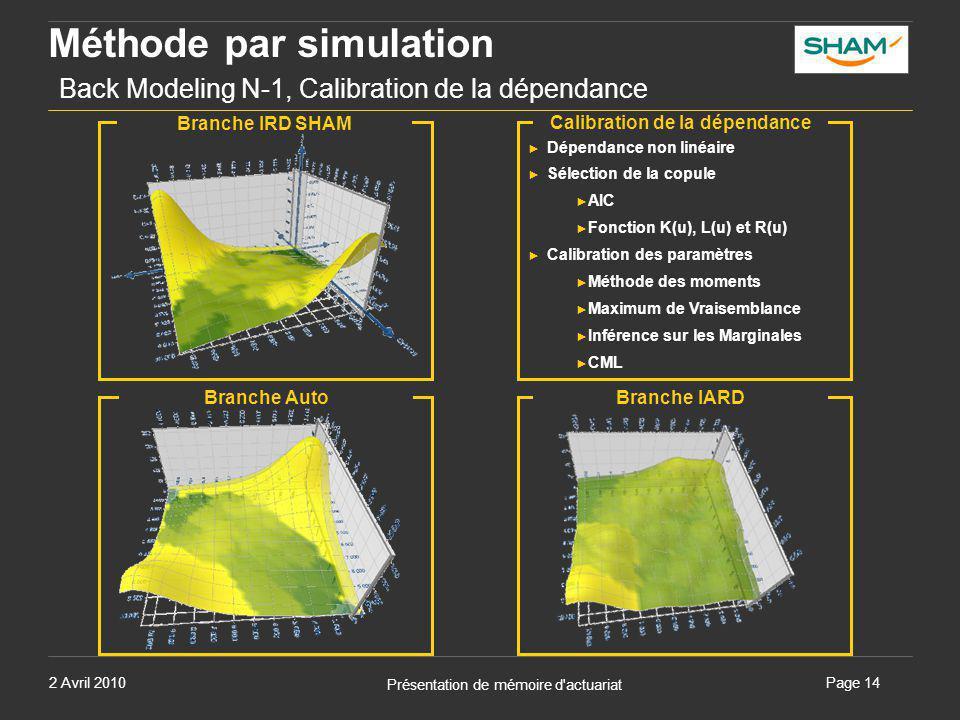 Méthode par simulation Back Modeling N-1, Calibration de la dépendance